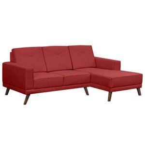 Sofá 3 Lugares com Chaise Esquerdo Pés Retrô Capricho Suede Vermelho - D'Monegatto