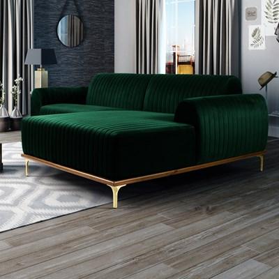 Sofá 300cm 5 Lugares com Chaise Direito Pés Gold Molino B-303 Veludo Verde Musgo - Domi