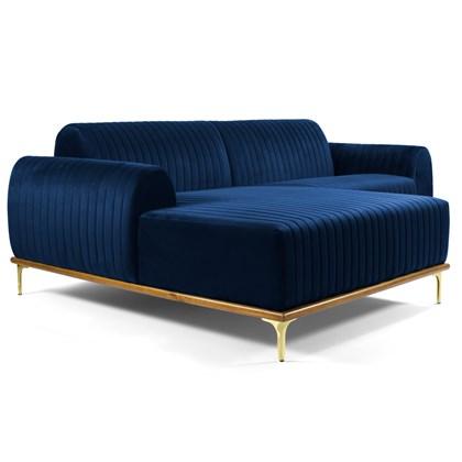 Sofá 320cm 5 Lugares com Chaise Esquerdo Pés Gold Molino B-304 Veludo Azul Marinho - Domi