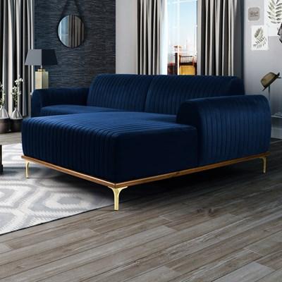 Sofá 350cm 6 Lugares com Chaise Direito Pés Gold Molino B-304 Veludo Azul Marinho - Domi
