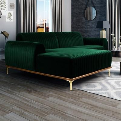 Sofá 350cm 6 Lugares com Chaise Esquerdo Pés Gold Molino B-303 Veludo Verde Musgo - Domi