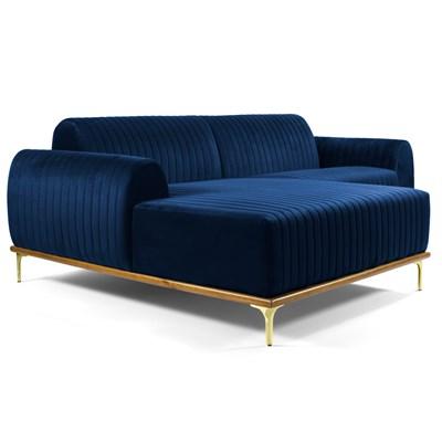 Sofá 350cm 6 Lugares com Chaise Esquerdo Pés Gold Molino B-304 Veludo Azul Marinho - Domi