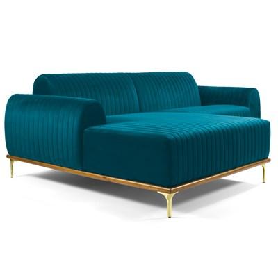 Sofá 350cm 6 Lugares com Chaise Esquerdo Pés Gold Molino B-66 Veludo Turquesa - Domi