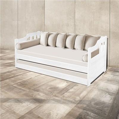 Sofá Cama Madeira Maciça AT6000 Branco - Atraente Móveis