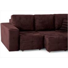 Sofá Classic Assentos Retrátil e Chaise com 250 cm de Largura Suede Tabaco - Jm Estofados