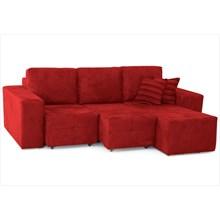 Sofá Classic Assentos Retrátil e Chaise com 250 cm de Largura Suede Vermelho - Jm Estofados
