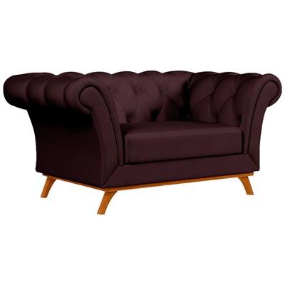 Sofá para Sala de Estar 150cm 1 Lugar Base Madeira Império B-292 Veludo Vinho - Domi