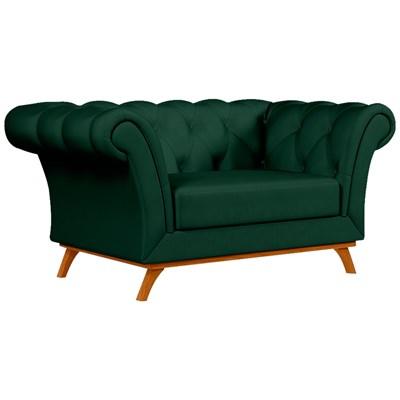 Sofá para Sala de Estar 150cm 1 Lugar Base Madeira Império B-303 Veludo Verde Musgo - Domi