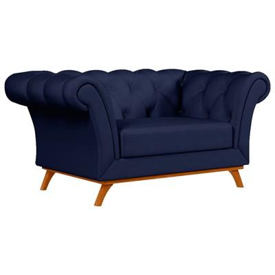 Sofá para Sala de Estar 150cm 1 Lugar Base Madeira Império B-304 Veludo Azul Marinho- Domi