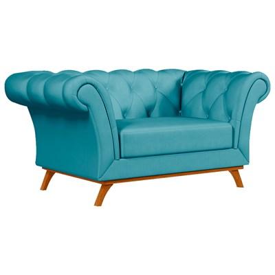 Sofá para Sala de Estar 150cm 1 Lugar Base Madeira Império B-66 Veludo Azul - Domi