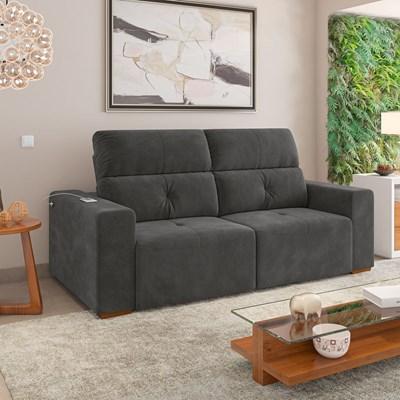 Sofá Retrátil e Reclinável 212cm 2 Lugares Francis M08 Veludo Grafite - Mpozenato
