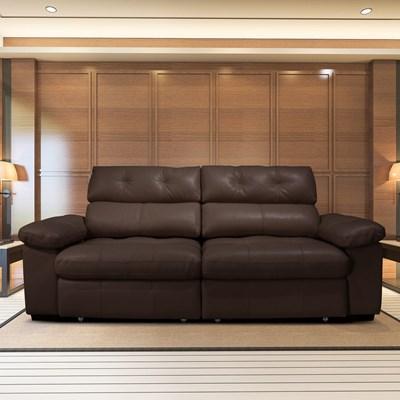 Sofá Retrátil e Reclinável 230cm 2 Lugares Detroit T02 Couro Marrom - Mpozenato