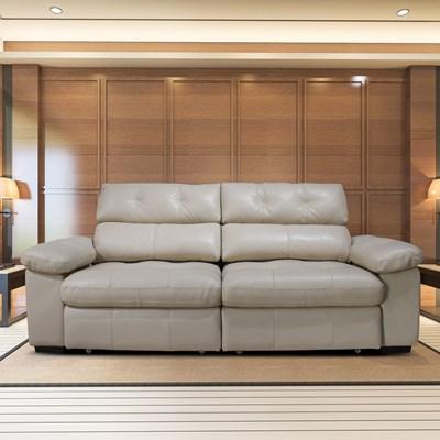 Sofá Retrátil e Reclinável 230cm 2 Lugares Detroit T02 Couro Matte Nude - Mpozenato