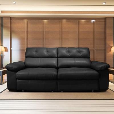 Sofá Retrátil e Reclinável 290cm 2 Lugares Detroit T02 Couro Preto - Mpozenato