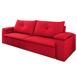 Sofá Retrátil Reclinável 3 Lugares 230cm Tico Suede Vermelho - D'Moneg