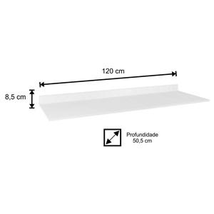 Tampo para Balcão de Cozinha 120cm MDP Branco - Lumil Móveis