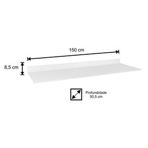 Tampo para Balcão de Cozinha 150cm MDP Branco - Lumil Móveis